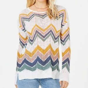 Hippie Rose Juniors' Chevron Pointelle Sweater L